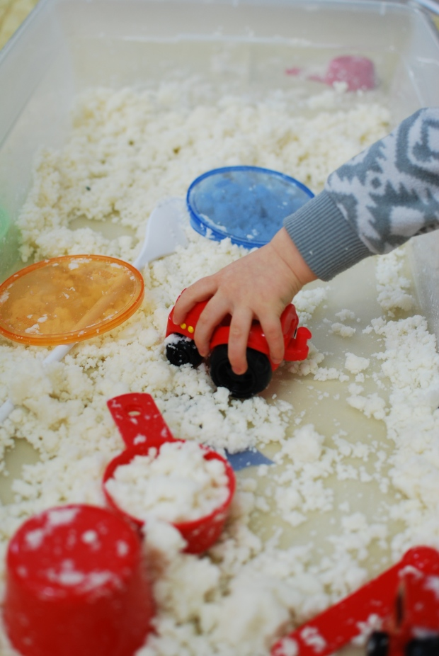 Faux Snow Potato Flakes Sensory Bin