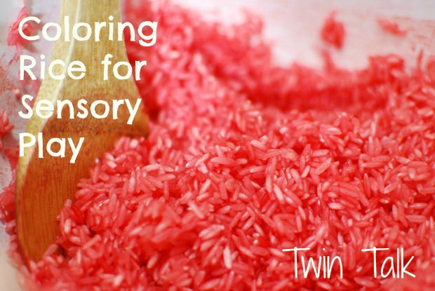 coloring rice for sensory play title pic